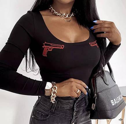 Жіноче боді з довгим рукавом і зображенням пістолетів 42-46 р, фото 2