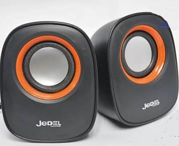 Колонки 2.0 JEDEL JD-M600 (Q-106) USB + 3.5mm, 2x3W, 90Hz- 20KHz, з регулятором гучності, Black/Orange, BOX,