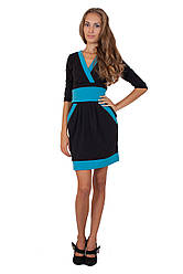 Платье Широкий пояс француз (46/черный-голубой)