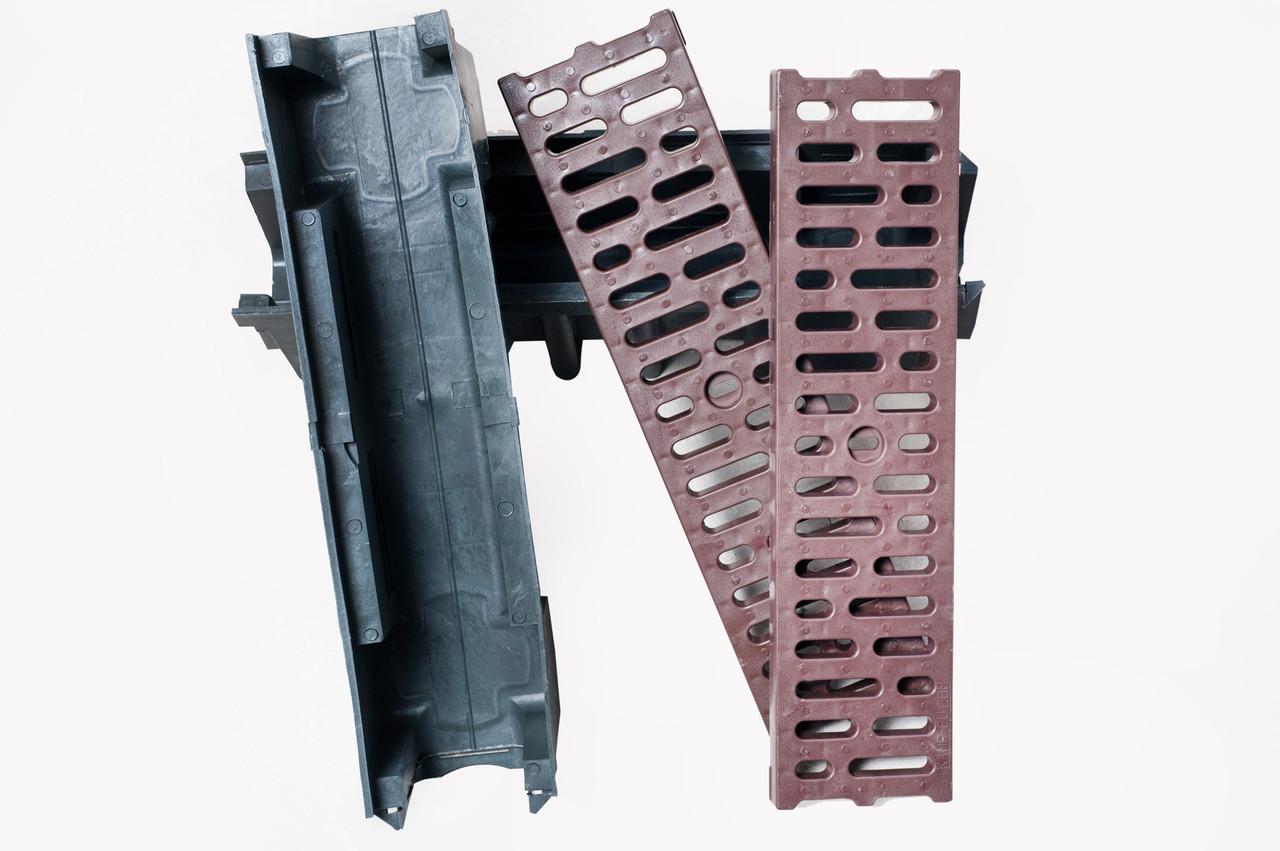 Водоотводный лоток 9см с пластиковой решеткой коричневого цвета. Поверхностного водоотвода аля стандартпарк