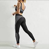 Спортивный женский костюм для фитнеса бега йоги. Спортивные лосины леггинсы топ для фитнеса, S (черный), фото 5