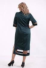 Зеленое платье батальное для полных ниже колена, фото 3