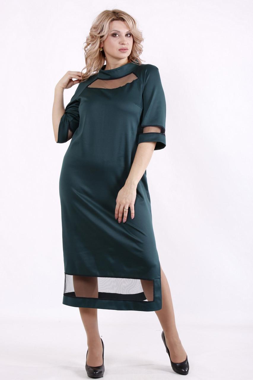 Зеленое платье батальное для полных ниже колена
