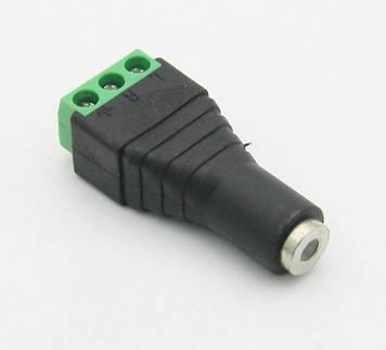 Гніздо для підключення живлення miniJack 3.5 Stereo (3 контакти) із клемами під кабель Q100