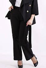 Костюм женский льняной больших размеров с брюками черный, фото 3