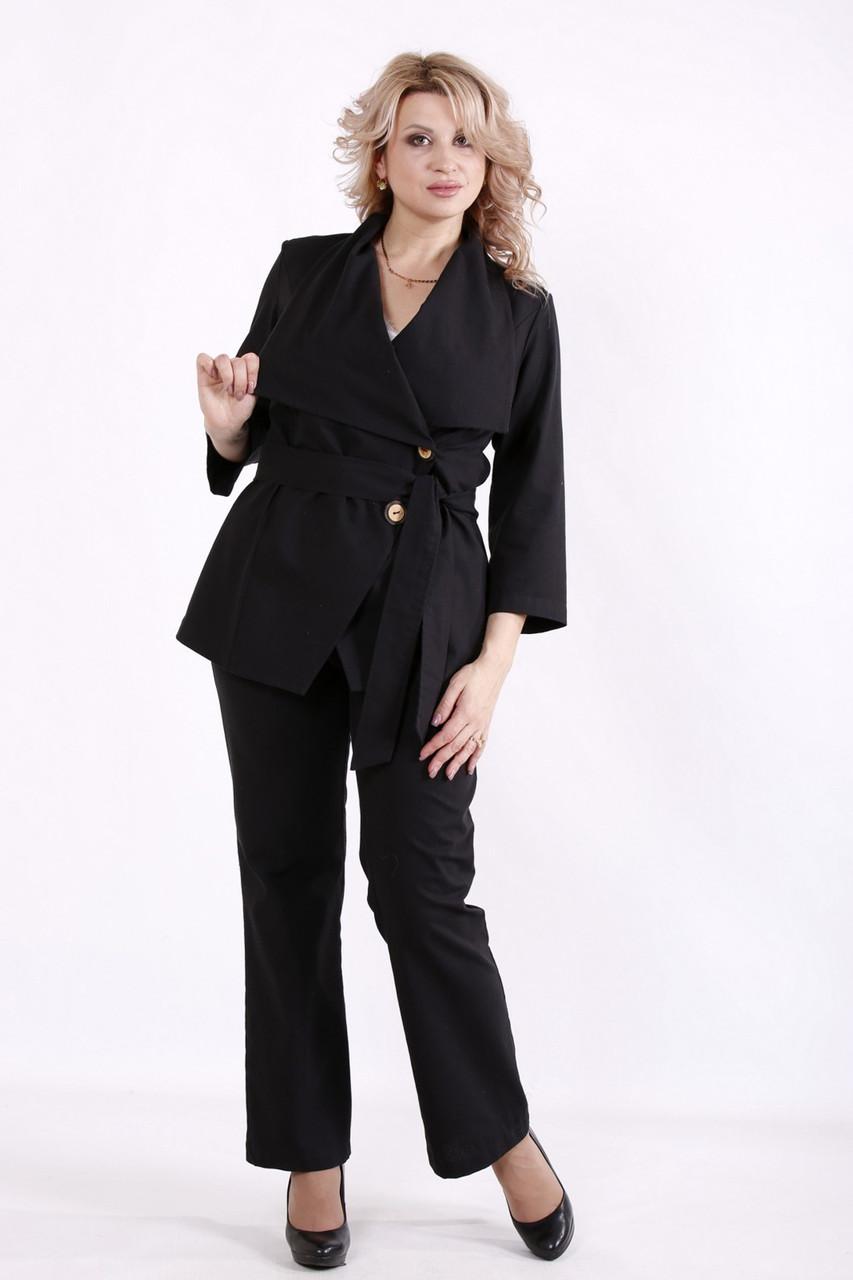 Костюм женский льняной больших размеров с брюками черный