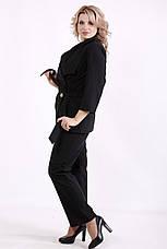 Костюм женский льняной больших размеров с брюками черный, фото 2