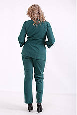 Модний костюм з льону для повних батальний зелений, фото 2