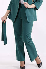 Модный костюм из льна для полных батальный зеленый, фото 3