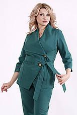 Модний костюм з льону для повних батальний зелений, фото 3