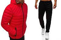 Спортивный костюм мужской Хот, Куртка с капюшоном и штаны на манжете, турецкий комплект, цвет красный