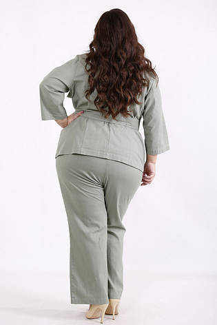 Льняной брючный костюм женский большого размера, фото 2