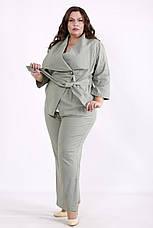 Льняной брючный костюм женский большого размера, фото 3