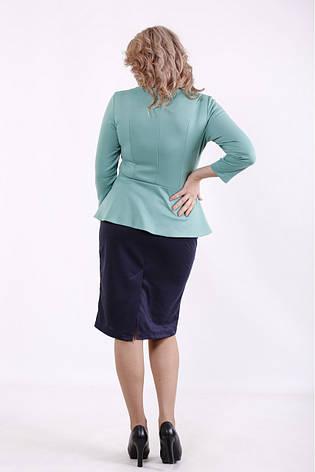 Елегантне плаття великих розмірів з баскою синьо-зелене, фото 2