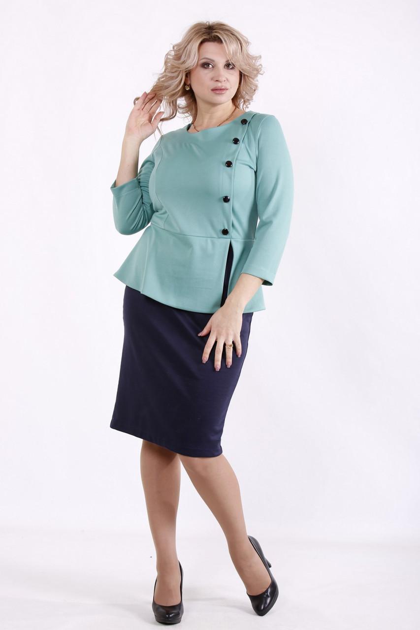 Елегантне плаття великих розмірів з баскою синьо-зелене