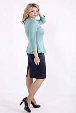 Елегантне плаття великих розмірів з баскою синьо-зелене, фото 3