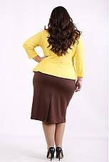 Плаття з баскою великого розміру для офісу трикотажне, фото 2