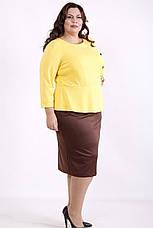 Плаття з баскою великого розміру для офісу трикотажне, фото 3