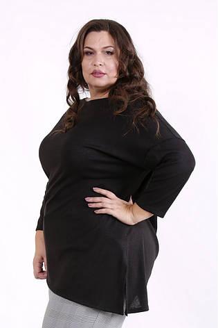 Туника женская для полных асимметричная черная, фото 2
