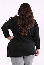 Туника женская для полных асимметричная черная, фото 3