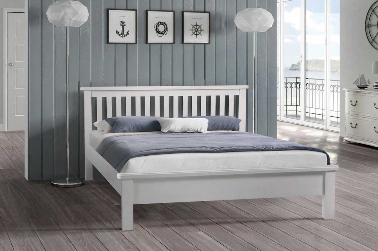 Кровать двухспальная деревянная Сидней 160-200 см (белая)