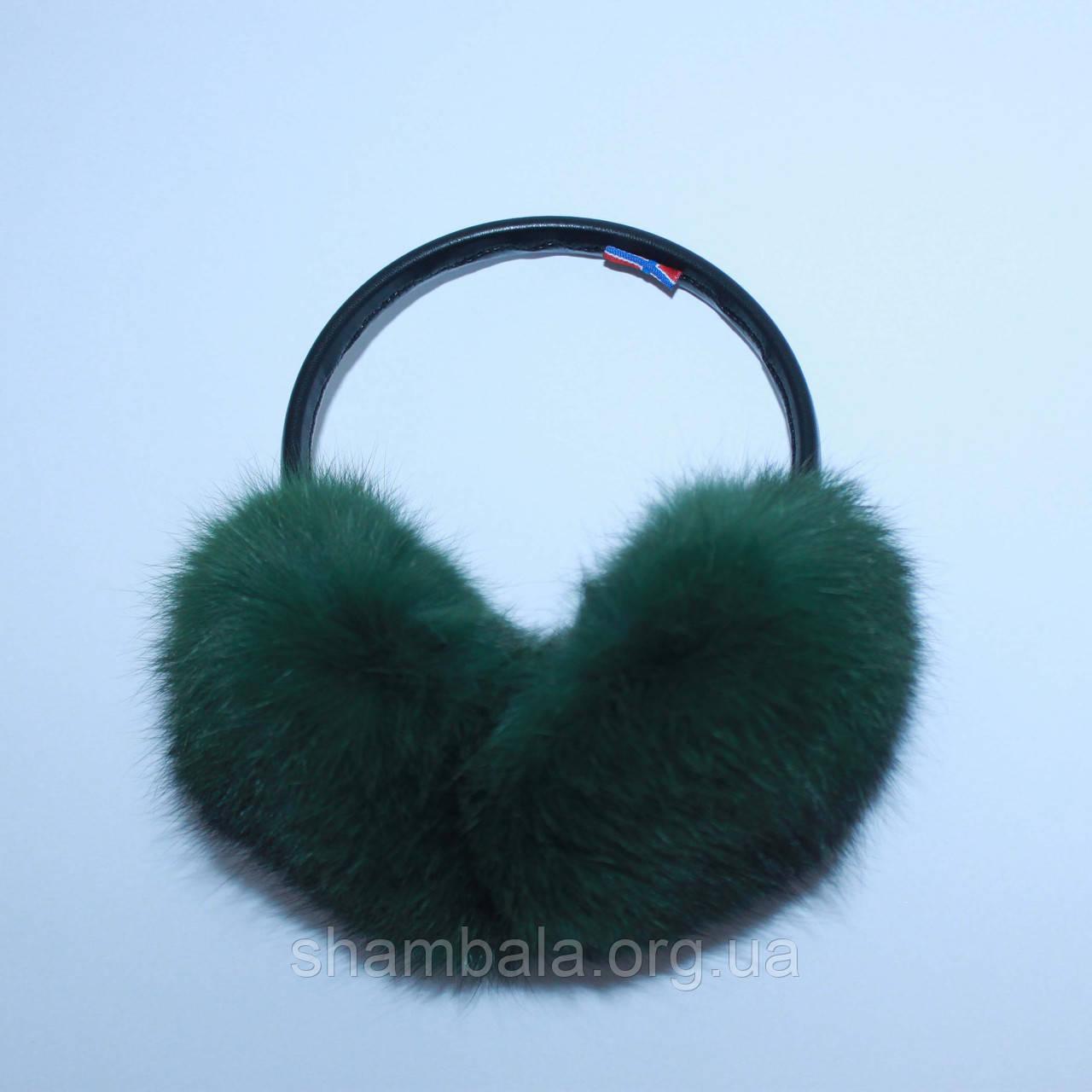 Хутряні навушники SnowyWin Натуральне Хутро Кролика Смарагдовий (010755)