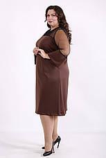 Платье трикотажное большое с вставкой из сетки коричневое, фото 3