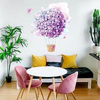 Акварельная наклейка виниловая Цветочный воздушный шар 01 красками рисунок ПВХ 550х680мм матовая