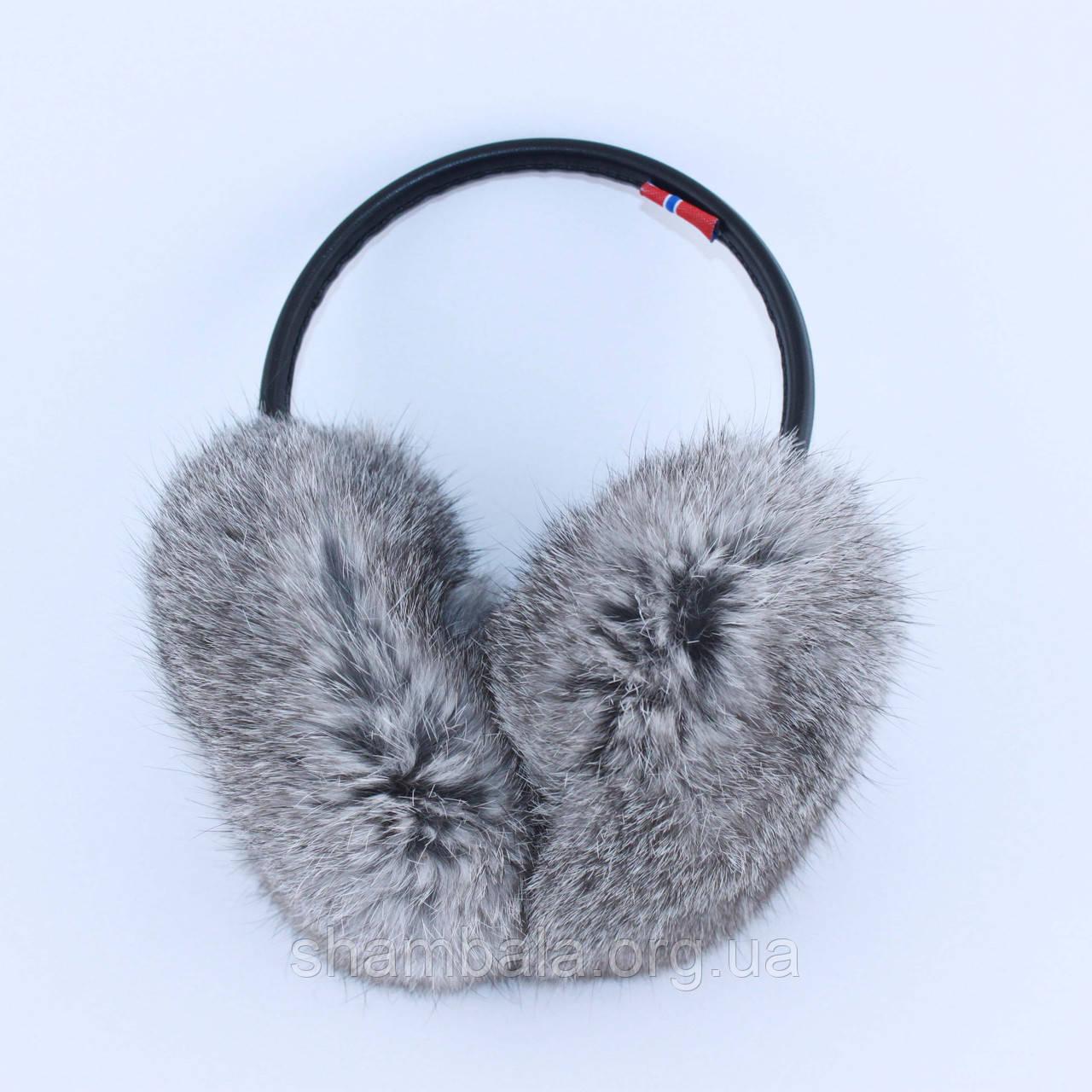 Меховые наушники SnowyWin Натуральный Мех Кролика Серый(010755)