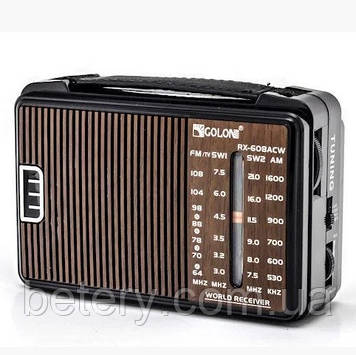 Радиоприемник GOLON RX-608, LED, 2x3W, FM радио, Входы microSD, USB, AUX, корпус пластмасс, Black, BOX