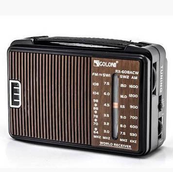 Радіоприймач GOLON RX-608, LED, 2x3W, FM радіо, Входи microSD, USB, AUX, корпус пластмас, Black, BOX