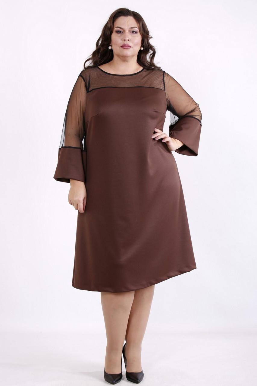 Платье трикотажное большое с вставкой из сетки коричневое
