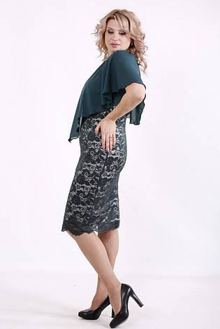 Батальное платье с гипюром нарядное зеленое с пелериной, фото 2
