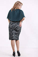 Батальное платье с гипюром нарядное зеленое с пелериной, фото 3