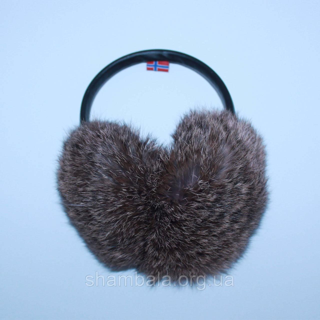 Хутряні навушники SnowyWin Натуральне Хутро Кролика Сіро-коричневий (010755)