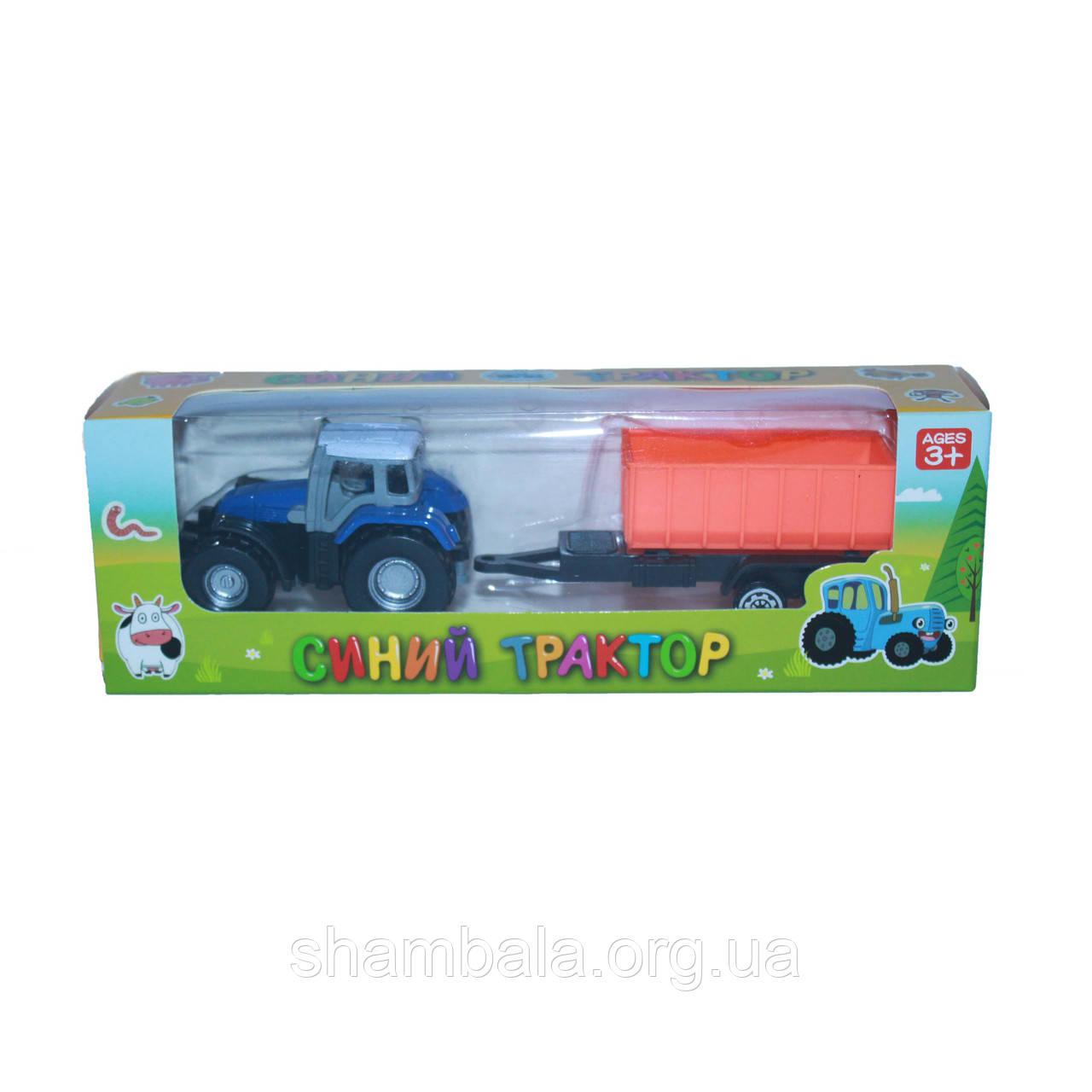 Синий трактор с Оранжевым прицепом (097305)