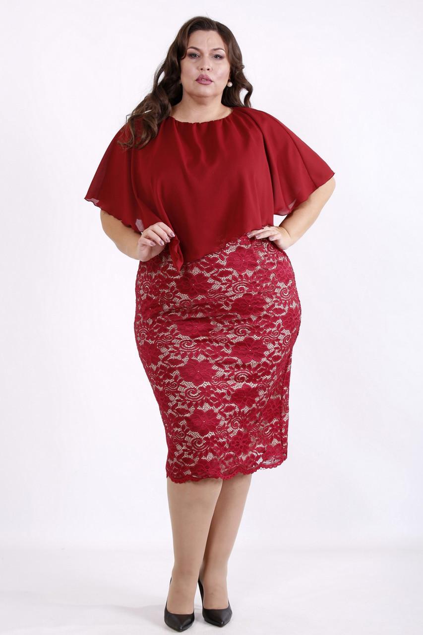 Гипюровое платье для полных женщин с шифоновой пелериной