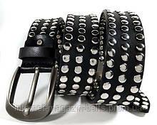 Ремень Fs.Style кожаный в заклёпках черный
