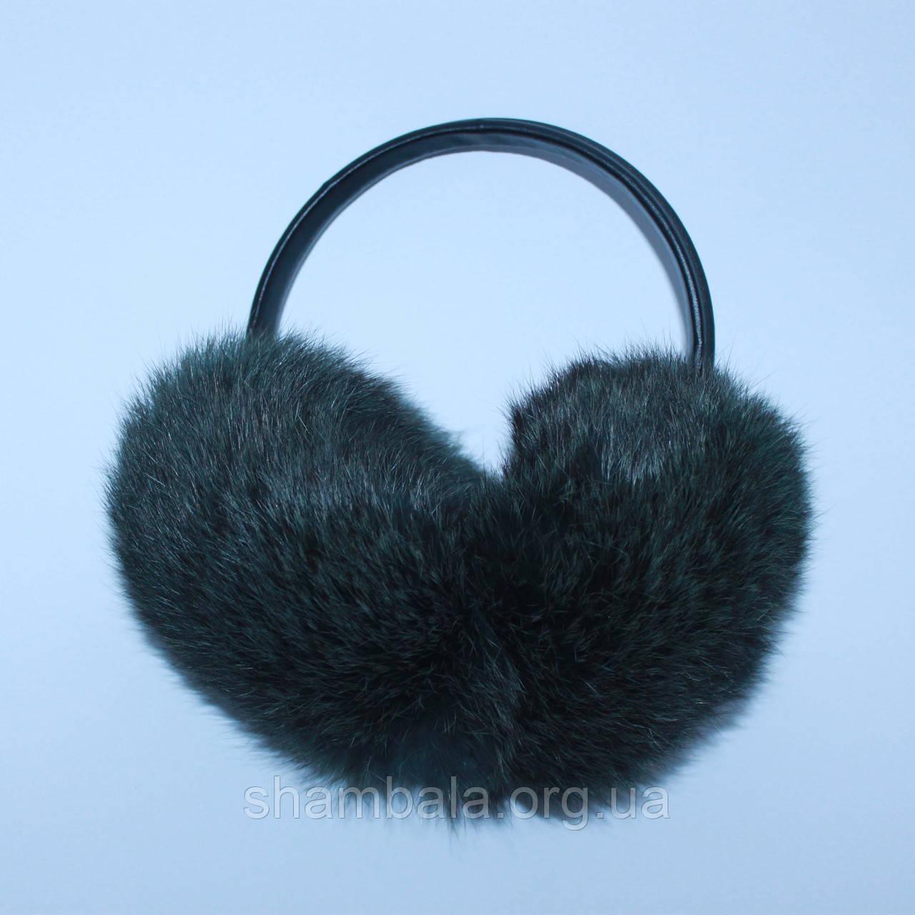 Хутряні навушники SnowyWin Натуральне Хутро Кролика Темно-зелений (010755)