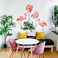 Акварельная наклейка виниловая Фламинго интерьерные наклейки красками рисунок ПВХ 1000х500мм матовая
