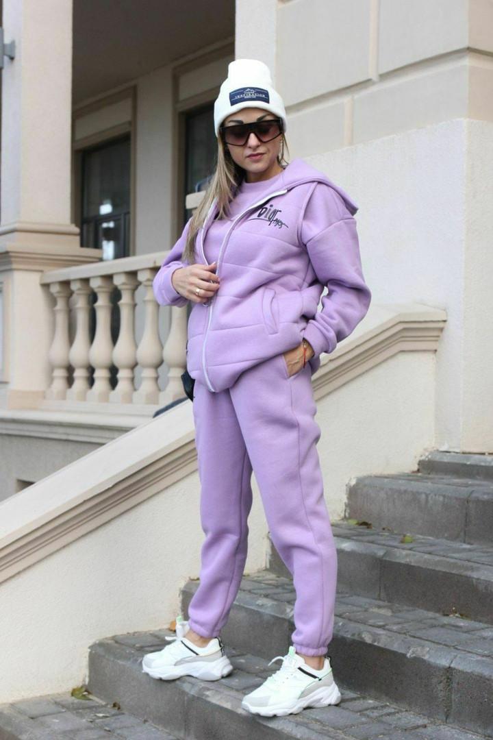 Женский спортивный костюм - тройка, двунить, р-р 42-44; 46-48 (сиреневый)