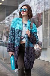 Кофта вязанная Коса меланж 019  голубой+т.серый