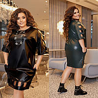 Р 50-60 Шкіряне плаття з розрізами Батал 23481