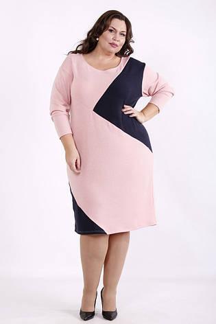 Офисное платье для полных с контрастной вставкой, фото 2