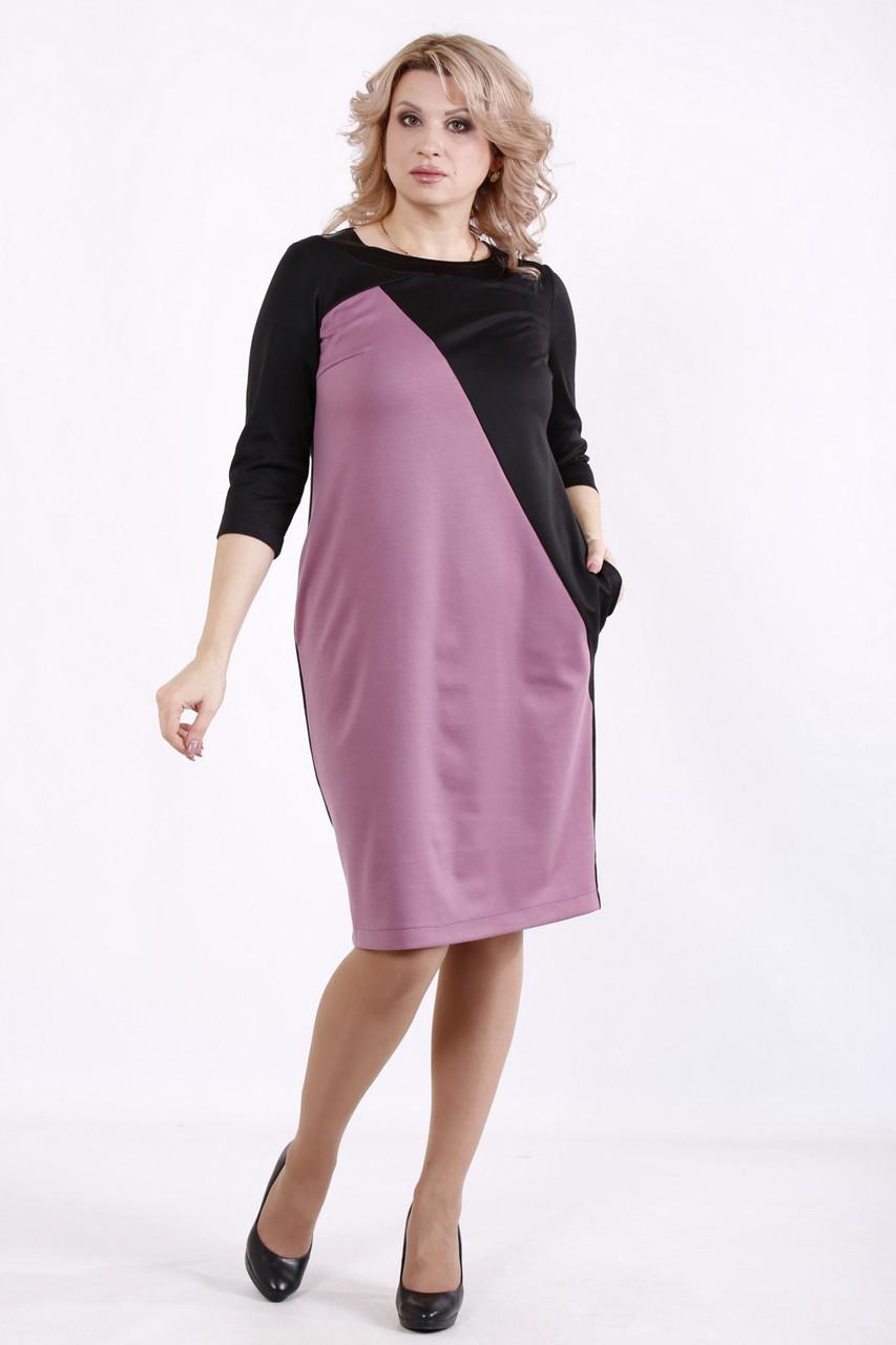 Повсякденне плаття для повних жінок трикотаж з кишенями