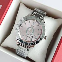Женские наручные часы Pandora серебристые с розовым циферблатом, камушки на метках, календарь - код 1879
