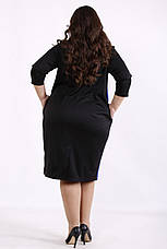 Просте плаття великих розмірів на кожен день синє з чорним, фото 3