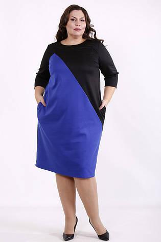 Просте плаття великих розмірів на кожен день синє з чорним, фото 2