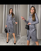 Женское офисное замшевое платье по колено на молнии