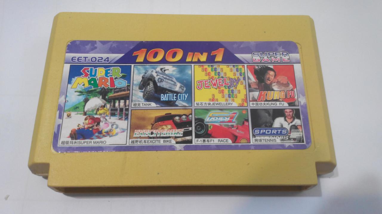 Картридж Dendy 8 bit 100 в1 (Battle City/Super Mario/F1 Race/Jewelry)EET-024